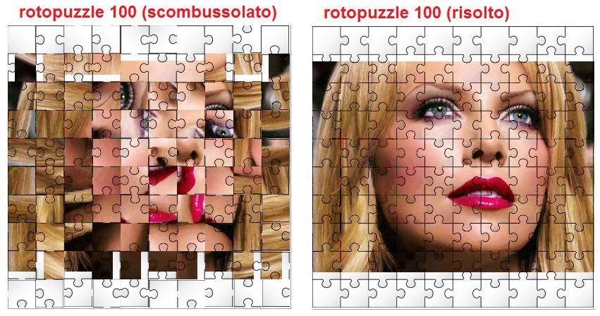 rotopuzzle 100, scombussolato e risolto affiancati